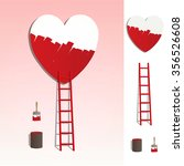 red ladder leading to a heart ... | Shutterstock .eps vector #356526608