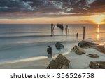 colorful sunrise near a village ... | Shutterstock . vector #356526758