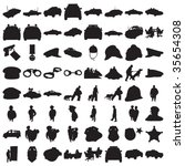many police silhouettes 2 | Shutterstock .eps vector #35654308
