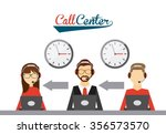 call center design  vector... | Shutterstock .eps vector #356573570