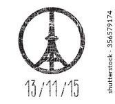 hand drawn peace for paris... | Shutterstock .eps vector #356579174