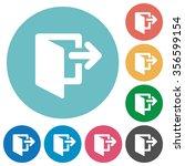 flat exit icon set on round...