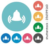flat ringing bell icon set on...