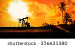panorama image of working oil... | Shutterstock . vector #356631380