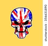uk flag painted on a skull | Shutterstock .eps vector #356631890