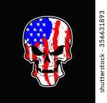 america flag painted on a skull | Shutterstock .eps vector #356631893