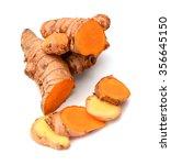 fresh turmeric slices isolated... | Shutterstock . vector #356645150