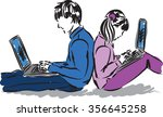 boy and girl with laptop... | Shutterstock .eps vector #356645258