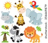 cute jungle animals vector... | Shutterstock .eps vector #356669879
