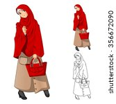 muslim woman fashion wearing... | Shutterstock .eps vector #356672090