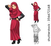 muslim girl fashion wearing red ... | Shutterstock .eps vector #356672168