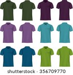 set of templates colored polo... | Shutterstock .eps vector #356709770