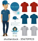 set of templates colored polo... | Shutterstock .eps vector #356709923