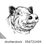 brush painting ink draw pig...