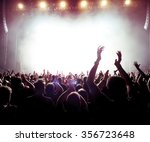 silhouettes of concert crowd in ... | Shutterstock . vector #356723648