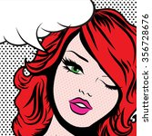 pop art woman winks. vector... | Shutterstock .eps vector #356728676