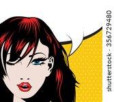 pop art woman winks. vector...   Shutterstock .eps vector #356729480