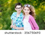 portrait of a boy and girl  in... | Shutterstock . vector #356750693