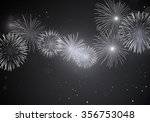 shiny white fireworks on dark...   Shutterstock .eps vector #356753048