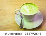 cup of hot green tea with latte ... | Shutterstock . vector #356792648