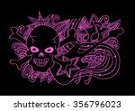 skull and guitar. hand drawing... | Shutterstock .eps vector #356796023