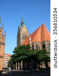 Stock photo market church and old town hall in hannover germany 356810534