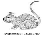 hand drawn zentangle mouse for... | Shutterstock .eps vector #356813780