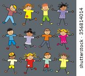 jumping children  group  vector ... | Shutterstock .eps vector #356814014