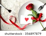 Red Rose With Red Heart Messag...