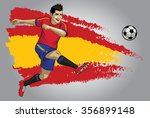 spain soccer player with flag... | Shutterstock .eps vector #356899148