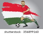 hungary soccer player with flag ... | Shutterstock .eps vector #356899160