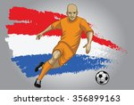 holland soccer player with flag ... | Shutterstock .eps vector #356899163
