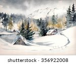 Winter Landscape With Mountain...