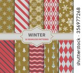 set of ten winter seamless... | Shutterstock .eps vector #356977268