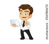 businessman holding a laptop | Shutterstock .eps vector #356980670
