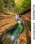 fall leaves blankets the devils ... | Shutterstock . vector #356986724