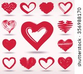 set of grunge hearts  valentine ... | Shutterstock . vector #356988170