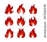 set of fire symbols in orange... | Shutterstock .eps vector #357020198