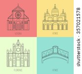 collection of italian landmarks ... | Shutterstock .eps vector #357021578