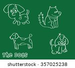 set of dogs in doodle style or... | Shutterstock .eps vector #357025238