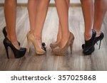 four pair beautiful female legs ... | Shutterstock . vector #357025868