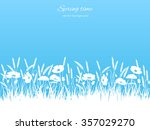 Spring Pattern With Grass And...