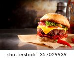 red hot chili cheeseburger with ... | Shutterstock . vector #357029939