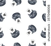 Stock photo  watercolor black cat pattern hand drawn seamless pattern with black cats in crown 357048008