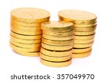 Golden Coins Isolated In White