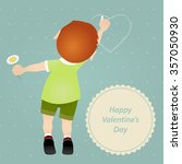 lover boy draws on the wall... | Shutterstock .eps vector #357050930