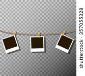photo frames on the rope on the ... | Shutterstock .eps vector #357055328