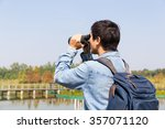 the back rear of man using... | Shutterstock . vector #357071120