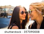 close up of two cheerful... | Shutterstock . vector #357090008