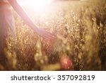 Blurred Hand Touching Wheat...